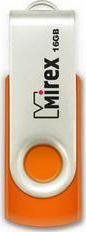 USB Flash drive 16Gb MIREX Swivel rubber Orange USB2.0 RTL