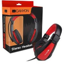 Наушники, Canyon around-ear USB headset, leather pads, inline remote, black-red (7XCNSHHSU2BR)