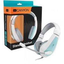 Наушники, Canyon around-ear USB headset, leather pads, inline remote, white-blue (7XCNSHHSU2WBL)